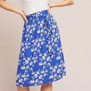 Anthropologie Blue & White Bird Print Midi Skirt